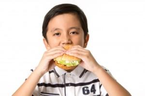 Boy eating in school